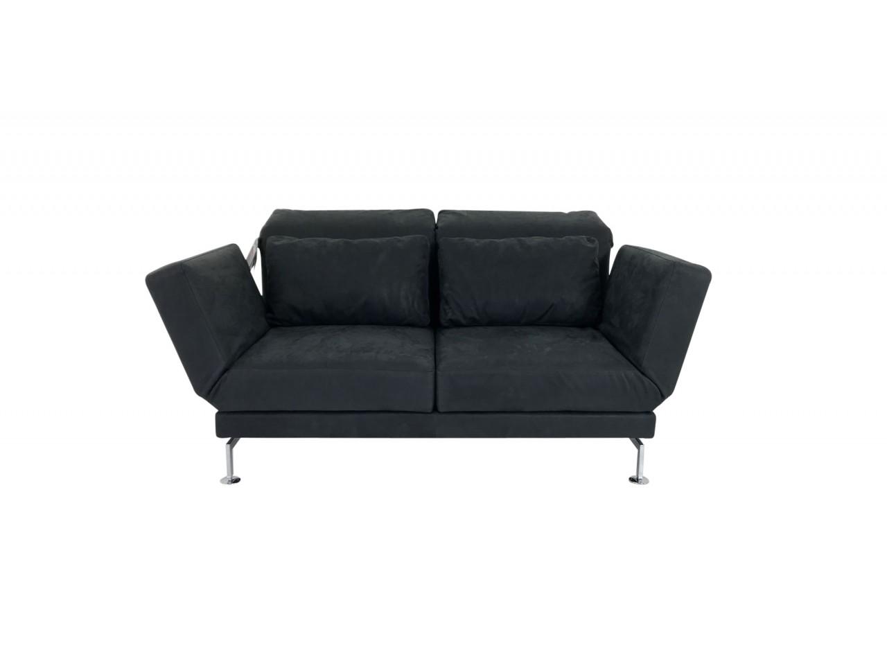 Brühl MOULE MEDIUM Sofa 2 im schwarzen Glove Leder und 2 Drehsitzen sowie Kufen mit Rollen hinten