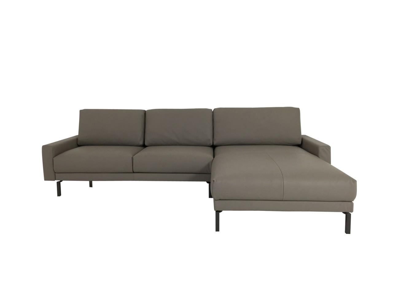 Hülsta Sofa hs.450 Sofa mit Recamiere in Leder Mark steingrau mit Quadratrohr Füssen in umbragrau