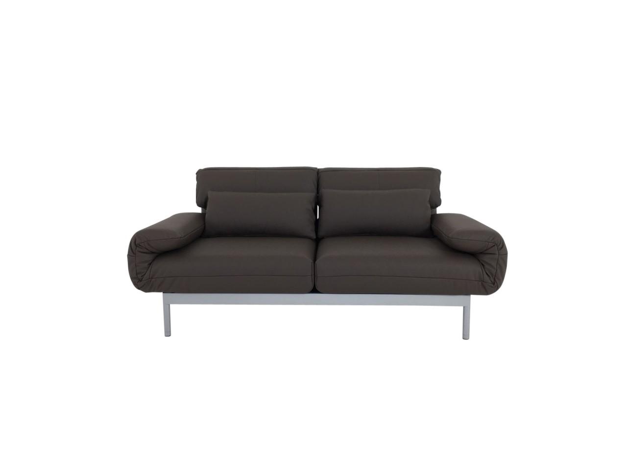 ROLF BENZ PLURA Sofa im Leder graubraun mit Liegerücken und Gestell silber im SONDERANGEBOT