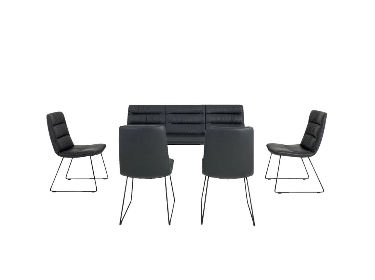 KFF ARVA LIGHT Sitzbank 3sitzig mit vier ARVA LIGHT Stühlen in Leder Sauvage antrazith mit Kufen