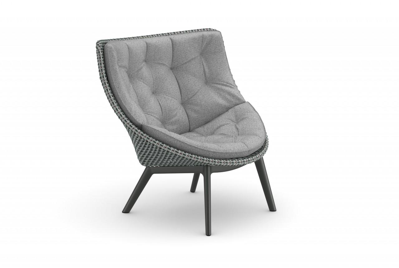 DEDON MBRACE WING CHAIR Hochlehner Sessel in baltic mit ALU Füßen und Polsterauflage in cool ash