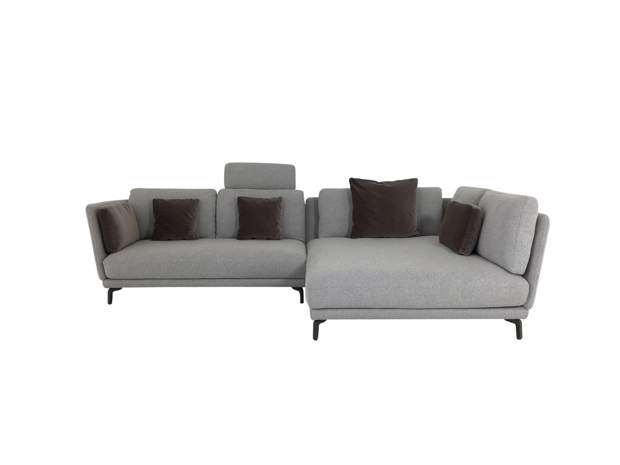rolf benz rondo sofa mit xl recamiere in stoff grau lounge deluxe polsterung und kissen rolf