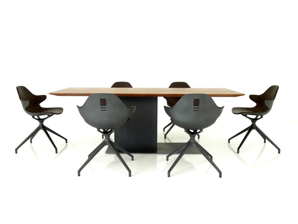 KFF Essplatz mit LOOT Tisch und 6 Stück KIRK Stühle in Anilin Leder dunkelbraun