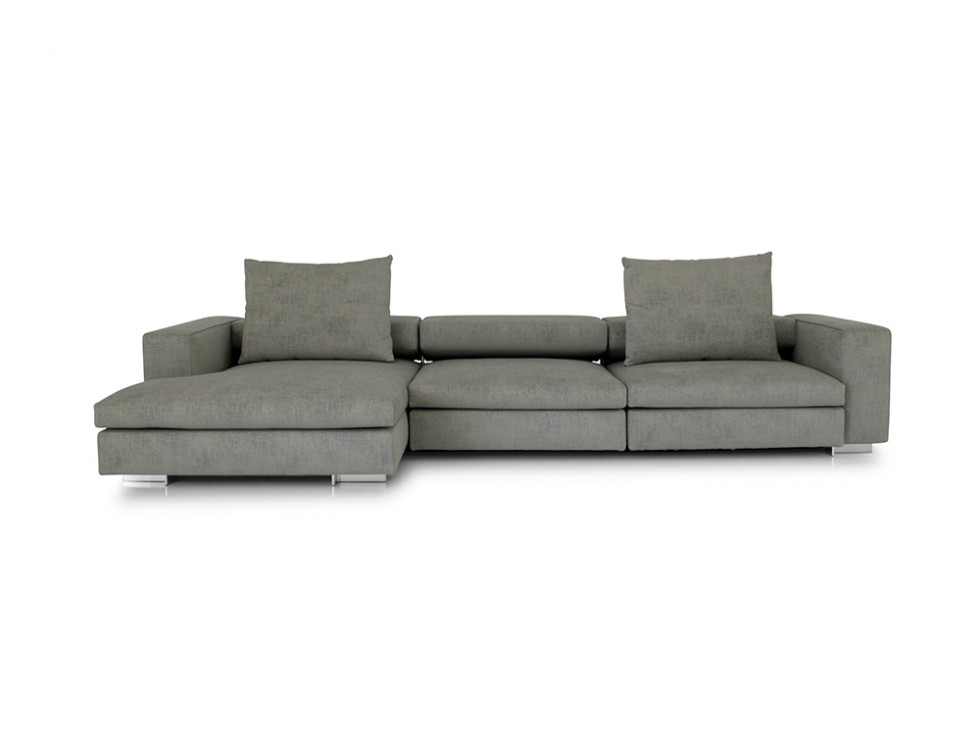 molteni c turner ecksofa mit legeren longchair und kissen mit edlem stoff grau melliert. Black Bedroom Furniture Sets. Home Design Ideas