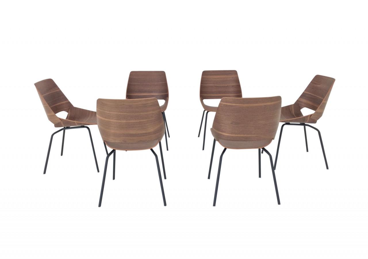ROLF BENZ 650 Stühle im Set von 6 Stück in Nussbaum