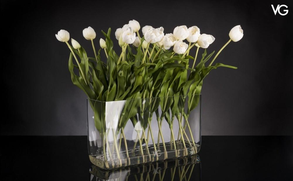 VG Double Tulip Illusion weisses Tulpen Arrangement