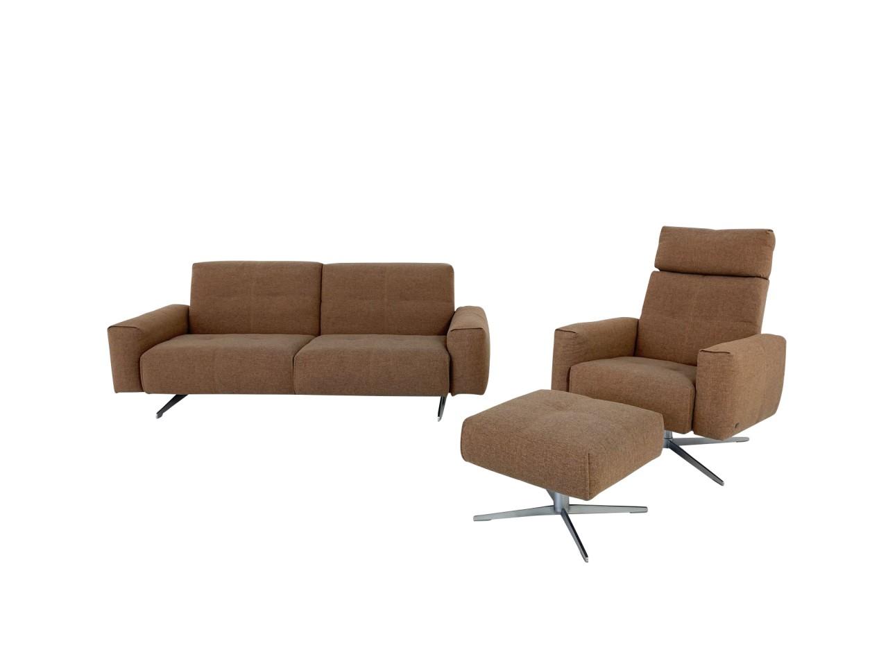 Rolf Benz RB 50 Sofa und Sessel Garnitur mit Hocker in Stoff orangebraun mit Funktion
