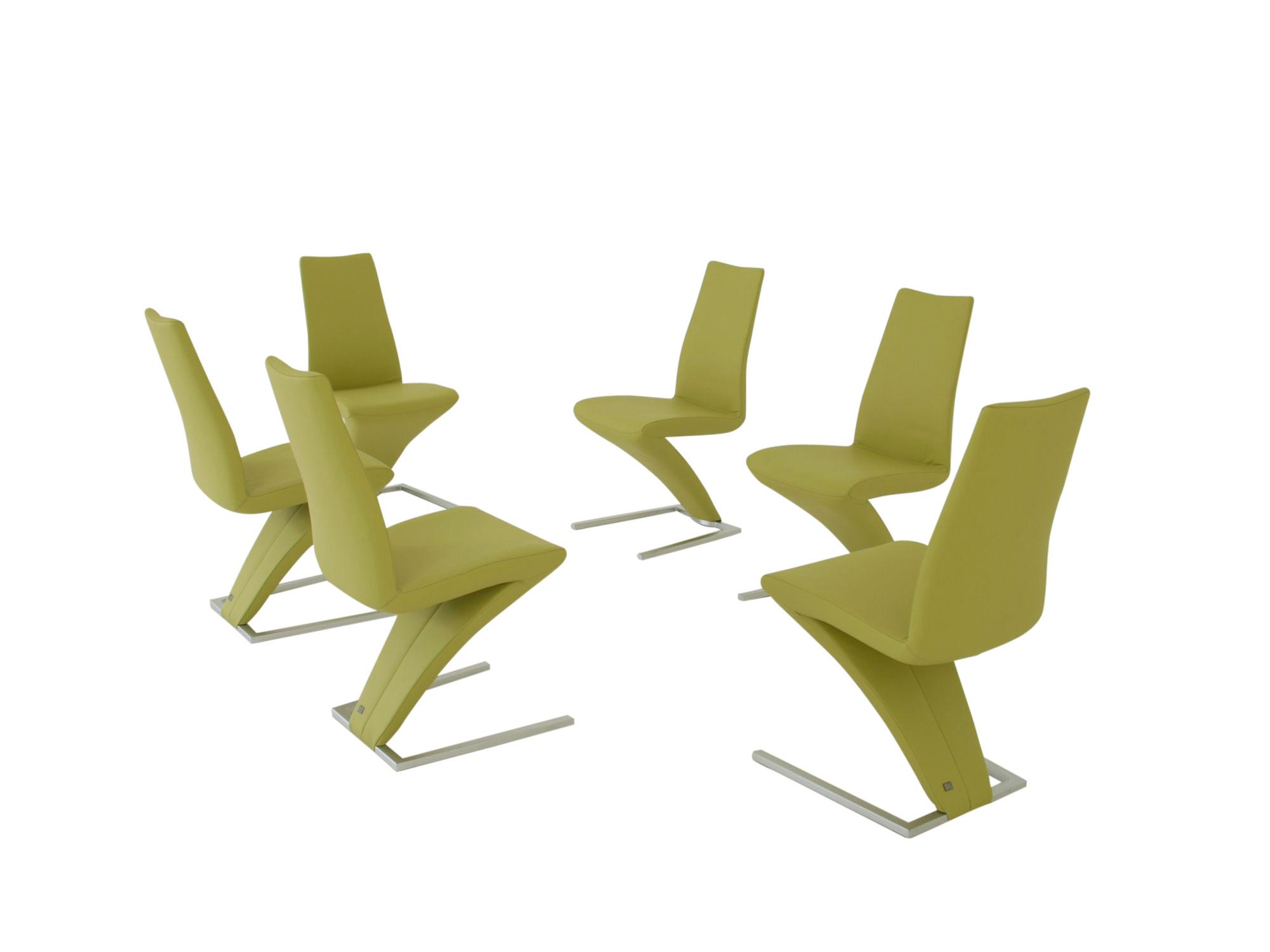 Rolf Benz 7800 Stühle in Leder grün ab Lager lieferbar