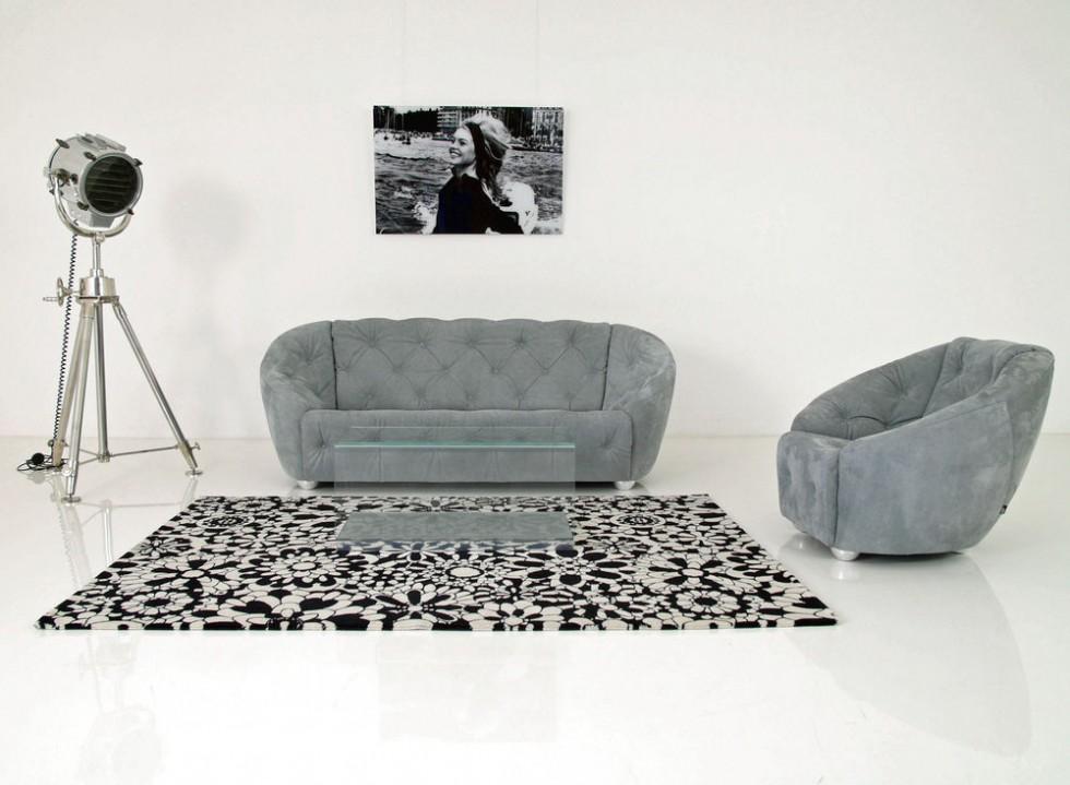 Br 252 Hl Avec Plaisir Sofa Amp Sessel Set In Leder Velvet Grau