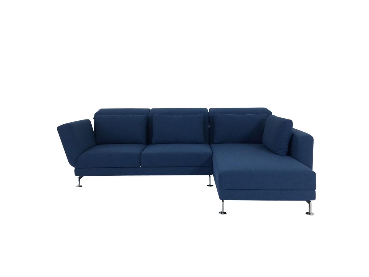 Brühl MOULE medium Sofa mit Recamiere rechts in Stoff azurblau mit Kissen und Relaxfunktionen