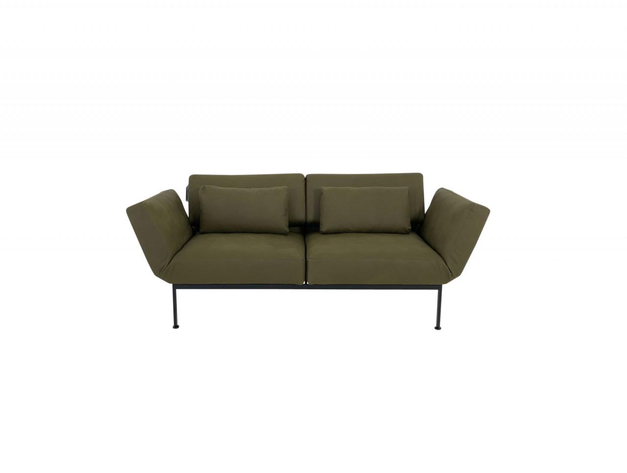 Brühl RORO/20 soft Sofa 2 mit weichen Sitzen in Leder Taron olive Gestell schwarz mit Rollen