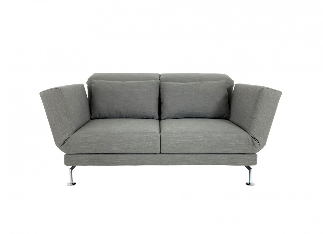 Brühl MOULE MEDIUM Sofa 2 mit Drehsitzen im robusten taupefarbenen Stoff mit Chromgestell und Rollen