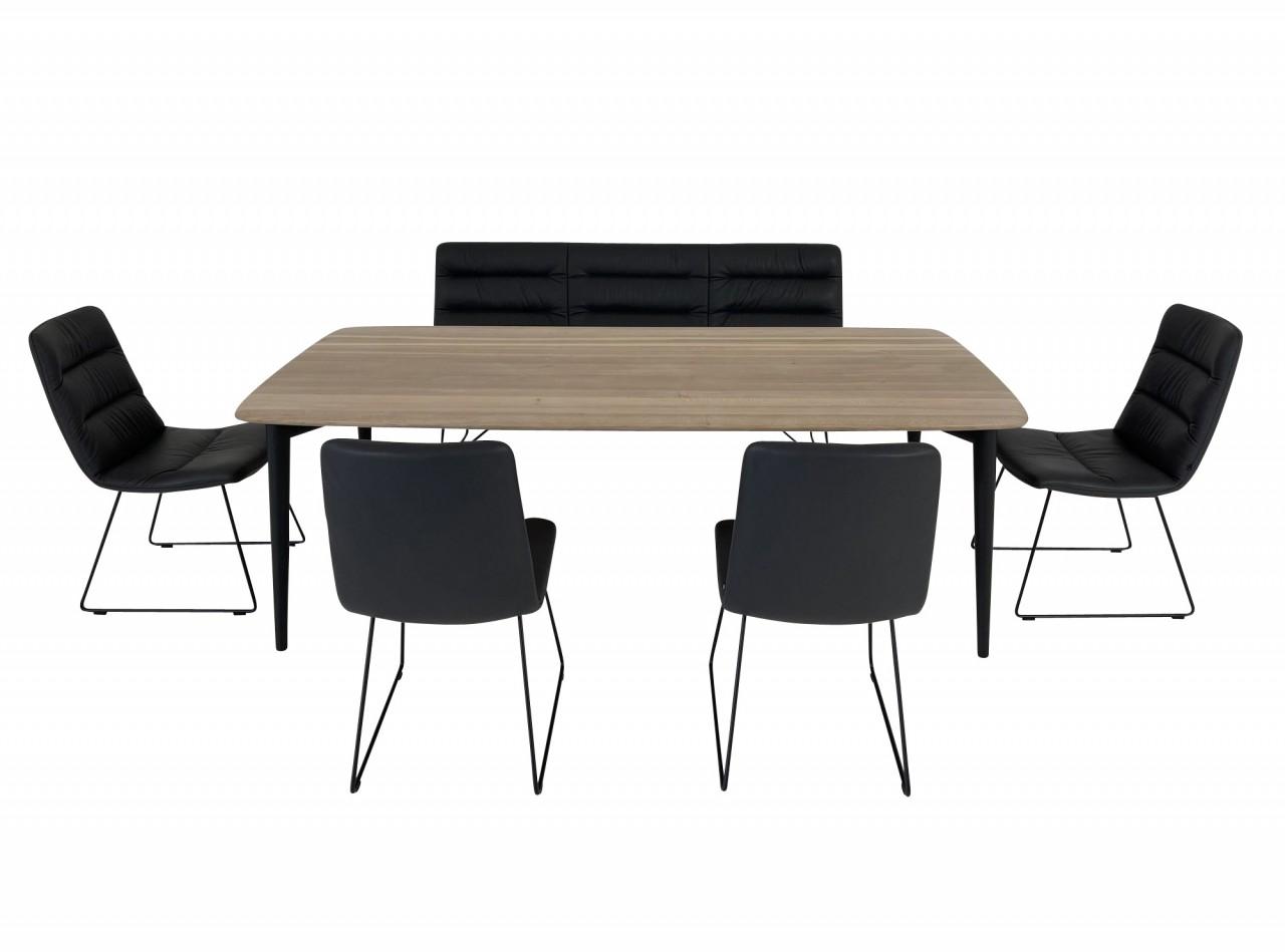 ROLF BENZ 900 Esstisch Eiche mit KFF ARVA LIGHT Sitzbank und Stühlen in Leder Sauvage anthrazit