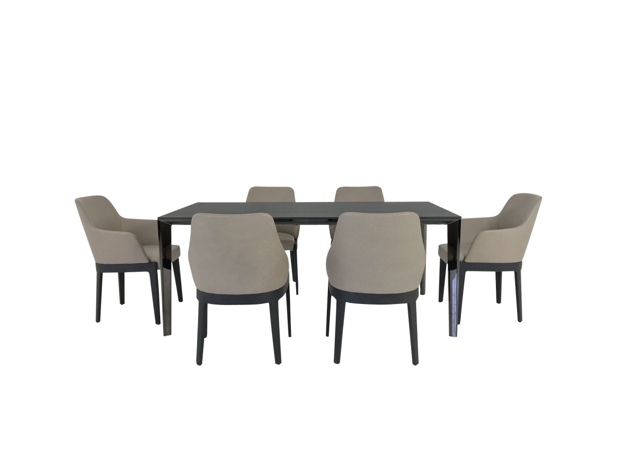 Molteni & C. Essplatz FILIGREE ausziehbarer Esstisch in Eiche grau mit 6 Stück CHELSEA Stühlen