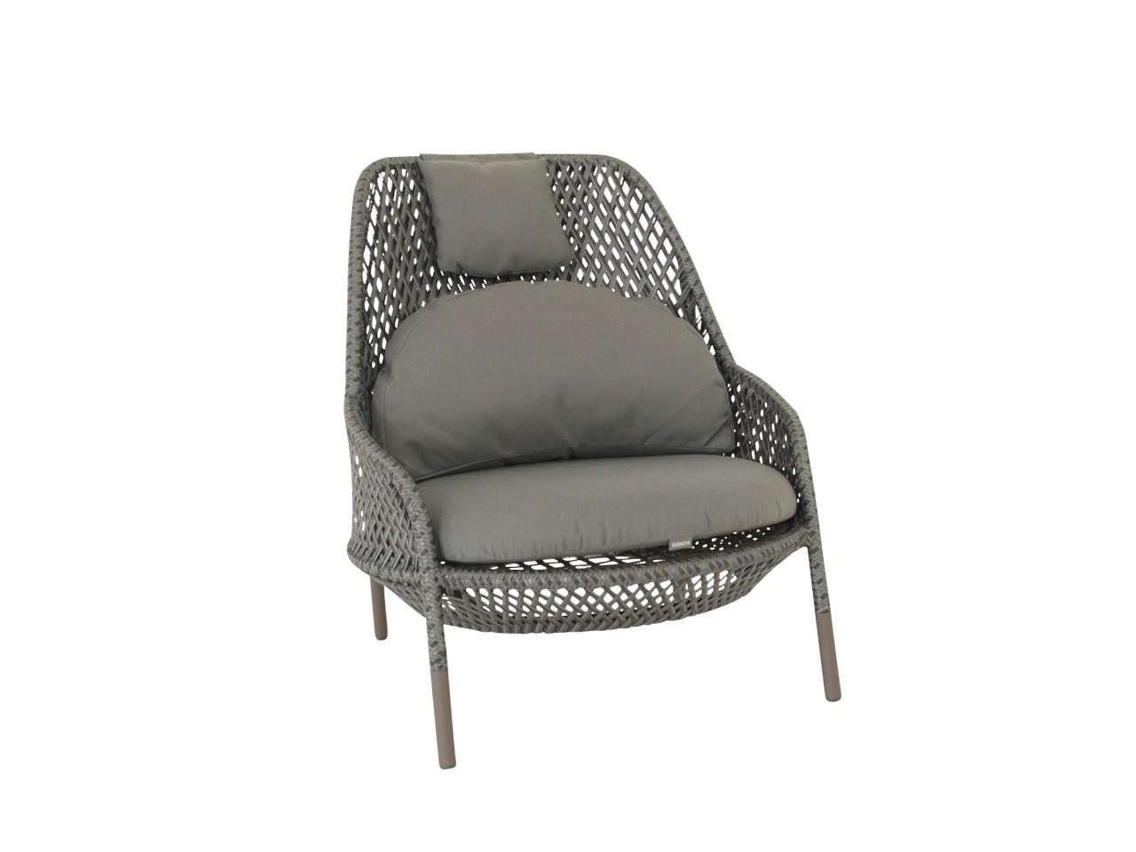 Dedon AHNDA Hochlehner Sessel mit Kissen Sessel in der Farbe graphit