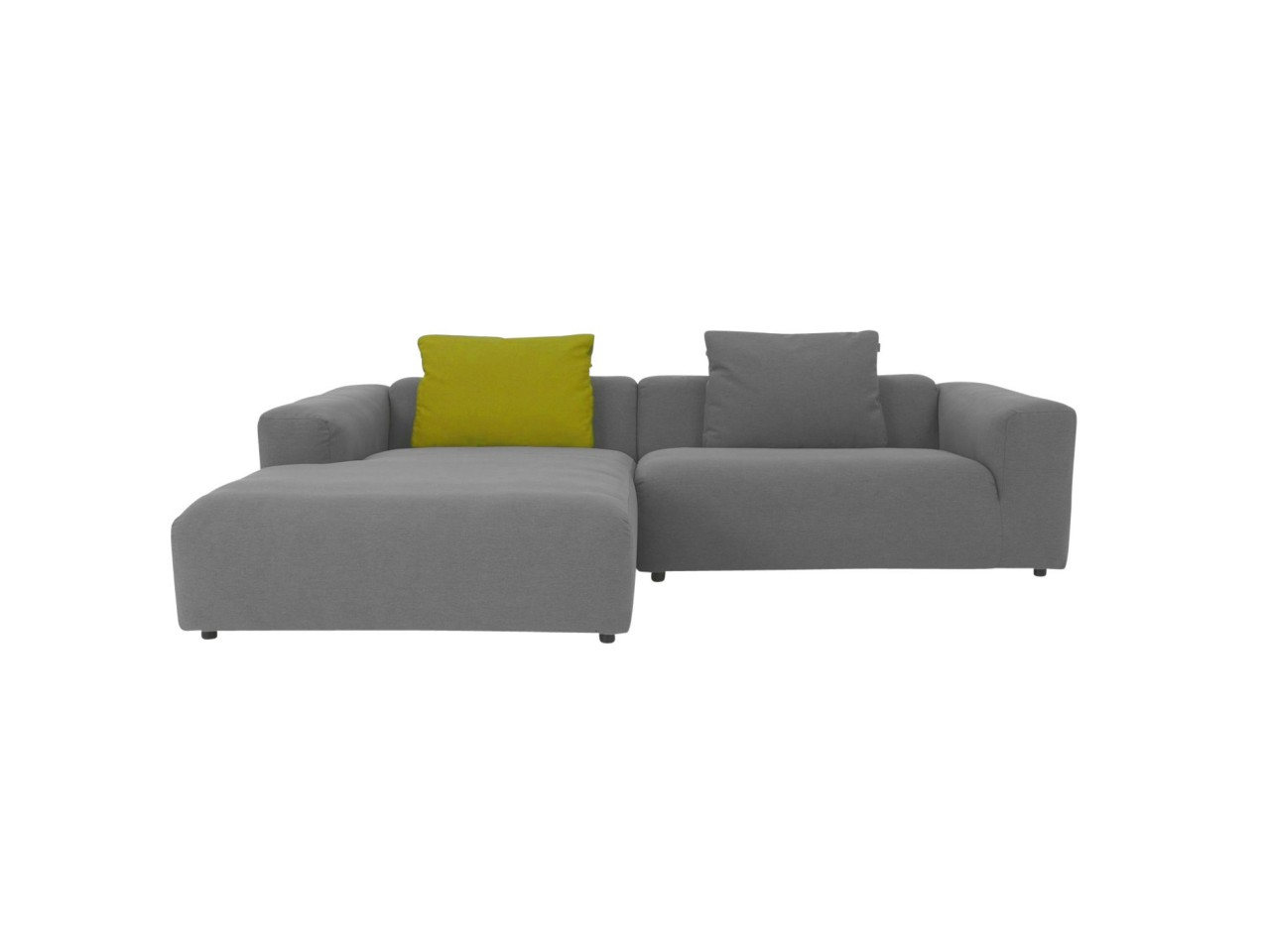freistil 187 ROLF BENZ das absolute Lounge Sofa in grauem feinen Stoffbezug mit Longchair links