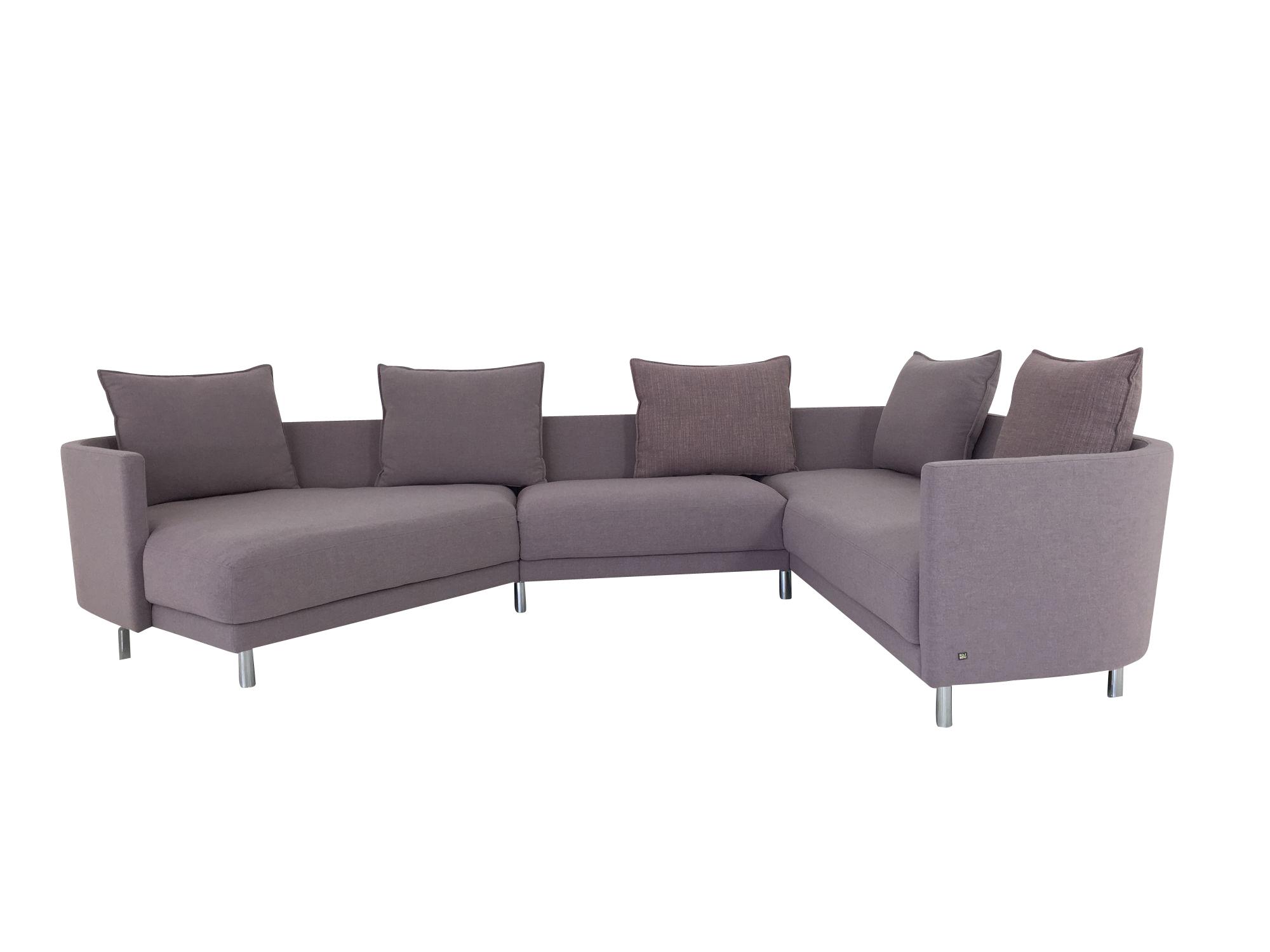 rolf benz onda ecksofa mit bertiefer recamiere in stoff graurose mit passenden r ckenkissen. Black Bedroom Furniture Sets. Home Design Ideas