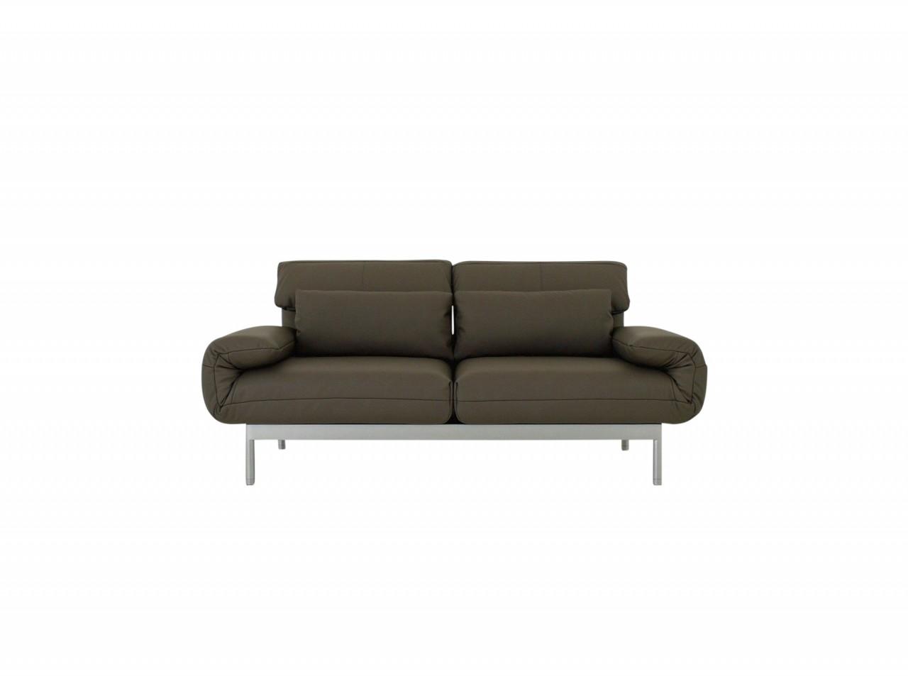 ROLF BENZ PLURA Sofa im graubraunen Leder mit silbernen Füßen im SONDERANGEBOT
