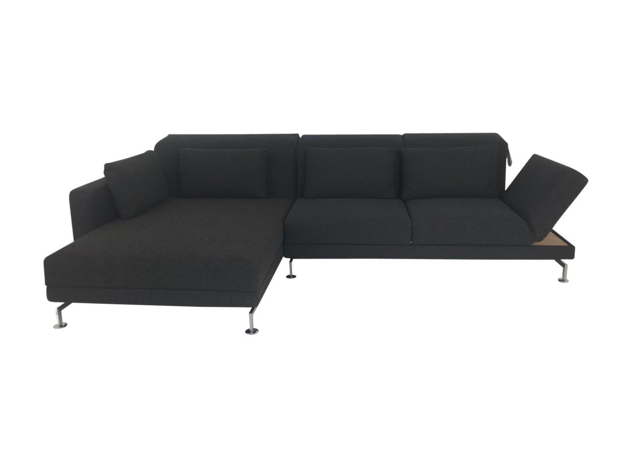 Brühl MOULE MEDIUM Sofa mit XL Longchair im anthrazit-braunen Stoffbezug mit Ablage