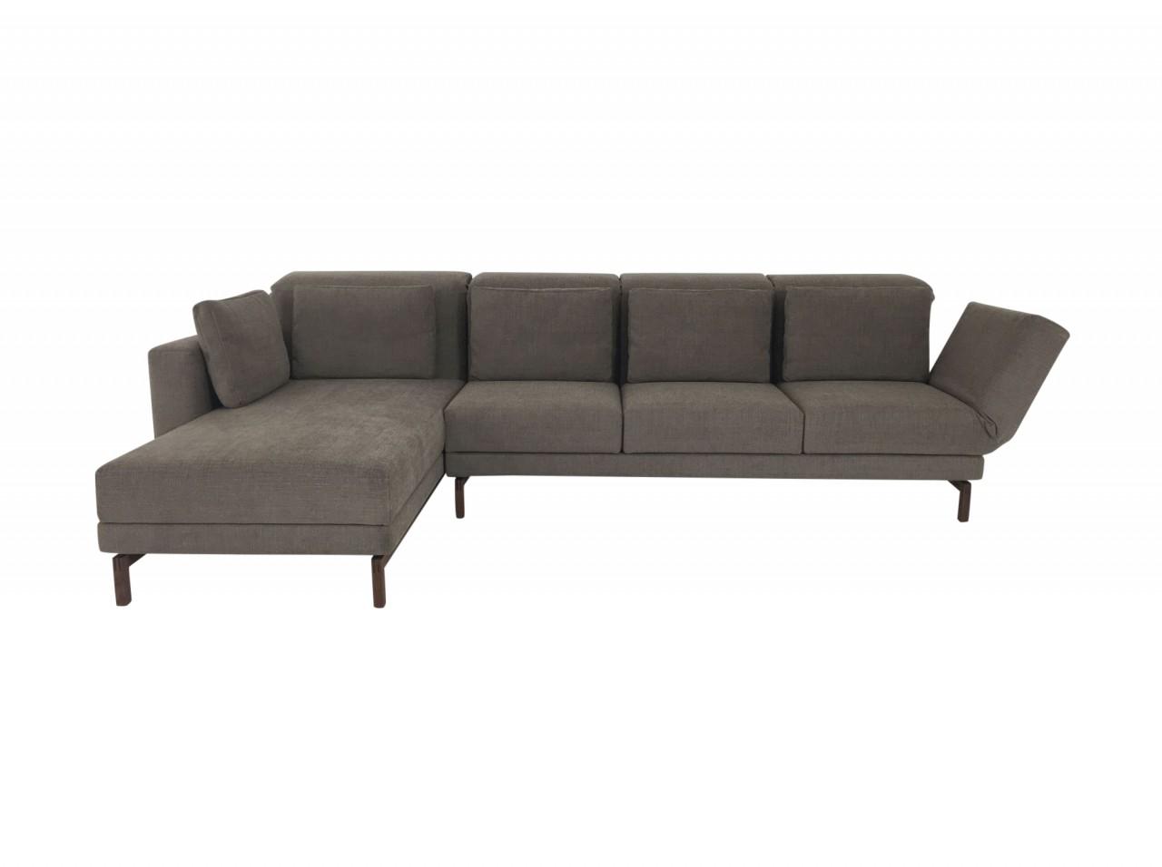 Brühl MOULE SMALL Sofa 3 mit Recamiere in Stoff braungrau und Drehsitz  rechts